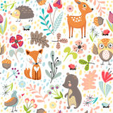 Seamless background with forest animals vector illustration