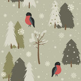 Seamless background with forest and bullfinch. Seamless background with forest and bullfinch in vintage style. Christmas seamless pattern, winter season Stock Photos