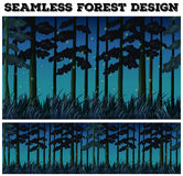 Seamless background with forest at night. Illustration Stock Photo