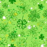 Seamless background with four leaf clover Stock Photo