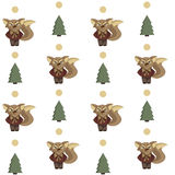 Seamless background with foxes and fir. Seamless pattern with foxes and fir Royalty Free Stock Image