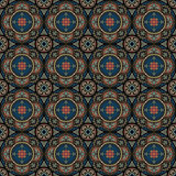 Seamless background with french pattern. Symmetric composition. Kaleidoscope pattern. Vector illustrations Stock Images