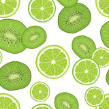 Seamless background with fresh green kiwi and lime slices. Royalty Free Stock Photos