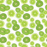 Seamless background with fresh green kiwi and lime slices. Stock Photos