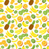 Seamless background with fresh whole pineapples, oranges, kiwi and bananas on white background. Vector illustration Royalty Free Stock Images