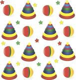 Seamless Background From Childrens  Toys Stock Photo