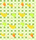 Seamless background with fruit on green squares. Royalty Free Stock Photos