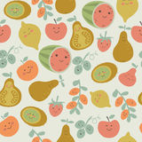 Seamless background. With fruits. Kiwi, ximenia, pear, nectarine, apple, watermelon, strawberry, lemon, grapes and ugli fruit in cartoon style Stock Photos