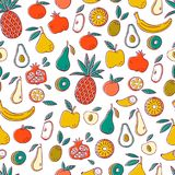 Seamless Background with Fruits. Vector Fruit Pattern. Stock Photo