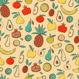 Fruits Seamless Vector Pattern. Doodle Fruits Seamless Pattern. Royalty Free Stock Image