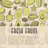 Seamless background with fruits, which is ideal for the restaurant industry and markets Royalty Free Stock Photo