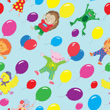 Seamless background with funny animals flying on balloons Royalty Free Stock Image