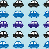 Seamless background from funny cars. Cars go one after another. Bright colors. Vector illustration of car blue shades. Royalty Free Stock Images