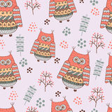 Seamless background with funny cartoon owls. Royalty Free Stock Photography