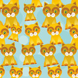 Seamless background with funny cats on blue background. Vector Royalty Free Stock Image