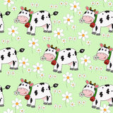 Seamless background with funny cow Stock Photo