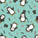Seamless background with funny penguins Royalty Free Stock Photos