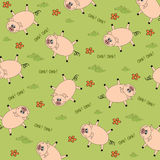 Seamless background with funny pigs Stock Photo