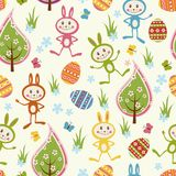 Seamless background with funny rabbits. Royalty Free Stock Image