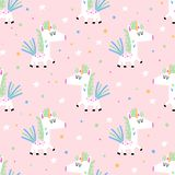 Seamless background with funny unicorns stock photography