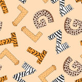 Seamless background with furry letters. Vector Stock Image