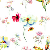 Seamless background with Garden flowers Royalty Free Stock Photos