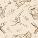 Seamless background with garden tools and flowers Stock Image