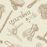 Seamless background with garden tools and text Royalty Free Stock Photography