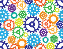 Seamless background from gears. Cogwheels of different color form the abstract mechanism. stock illustration