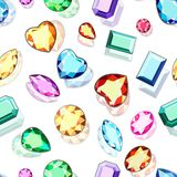 Seamless background with gems of various cuts vector illustration