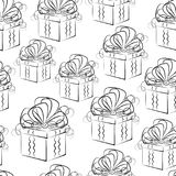 Seamless Background with Gift Boxes. Seamless Pattern, Holiday Gift Boxes with Bows, Black Contours Isolated on Tile White Background. Vector Stock Images