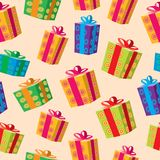 Seamless background of gift boxes. Royalty Free Stock Photos
