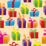 Seamless background of gift boxes. Stock Photography