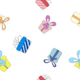 Seamless background with the gift boxes. Seamless background for your design stock illustration