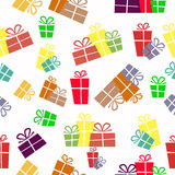 Seamless background with gifts in the colored boxes. For your design Royalty Free Stock Photo