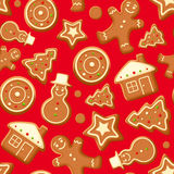 Seamless background with gingerbread cookies. Vector illustration. Royalty Free Stock Photo