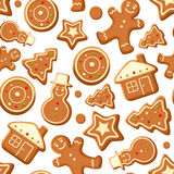 Seamless background with gingerbread cookies. Vector illustration. Stock Photo