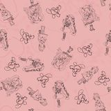 Seamless background girl in love with heart from wrapping paper. Stock Photography