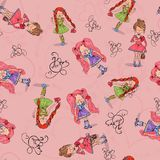 Seamless background girl in love with heart from wrapping paper. Royalty Free Stock Photo