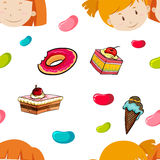 Seamless background of girls and candy Stock Photo
