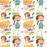 Seamless background with girls reading books. Illustration Royalty Free Stock Photo