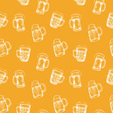 Seamless background with glasses of beer Stock Photography