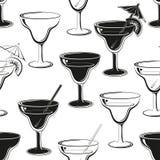 Seamless background, glasses silhouettes Stock Photos