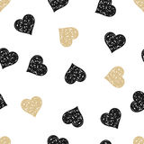 seamless background with gold and black hearts Stock Photography