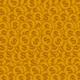 Seamless background with golden coins. Vector illustration.  Royalty Free Stock Photography