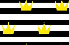 Seamless background of golden crowns on striped background. Black horizontal stripes and crowns.  Stock Photography