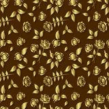 Seamless background with golden roses on a brown background Stock Photo