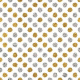 Seamless background of golden and silver circle. Seamless pattern of gold glitter and silver polka dots, hand drawn background of golden and silver circle Stock Photos