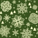 Seamless background with golden winter print Royalty Free Stock Image
