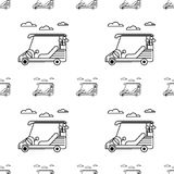 Seamless background for golf. Golf cart. Seamless monochrome pattern with contour golf cars and clouds on white background Stock Photos